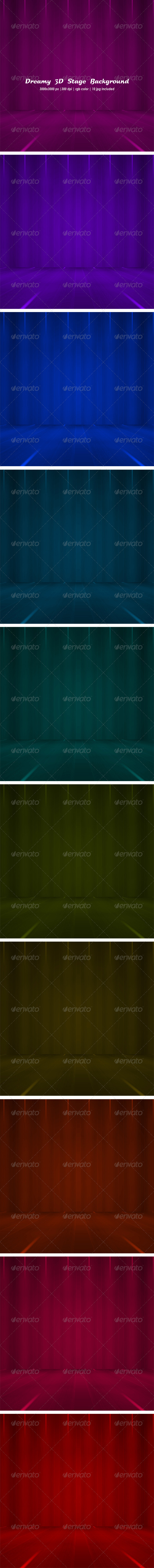 Dreamy 3d Stage Background Set - Backgrounds Graphics