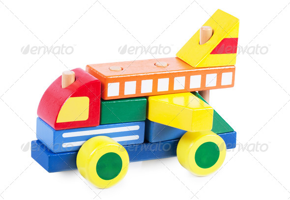 Wooden block car - Stock Photo - Images