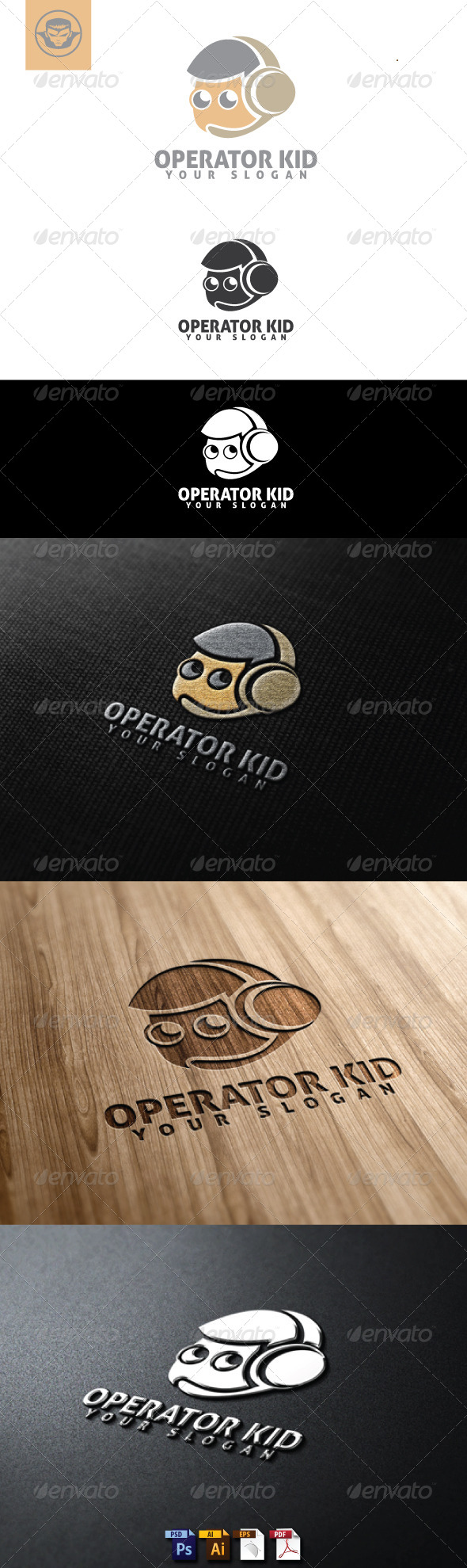 Operator Kid Logo Template - Humans Logo Templates