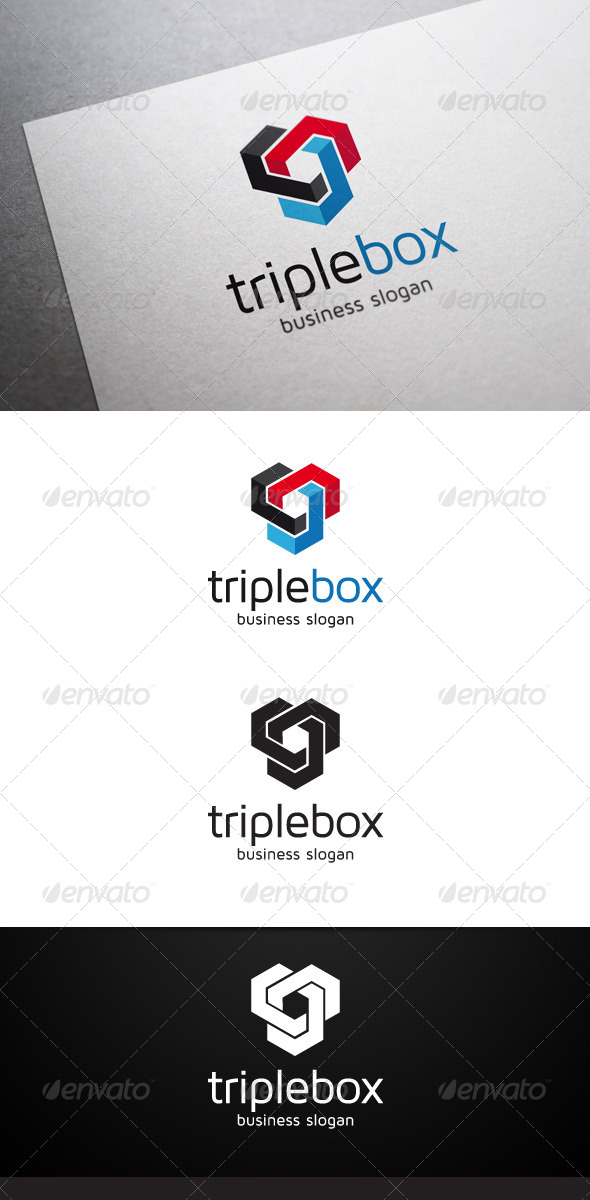 Triple Box Logo - Abstract Logo Templates