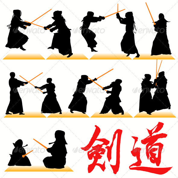 Kendo Silhouettes - Sports/Activity Conceptual