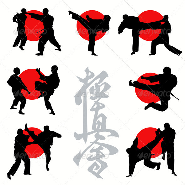 Kyokushin Karate Silhouettes Set - Sports/Activity Conceptual