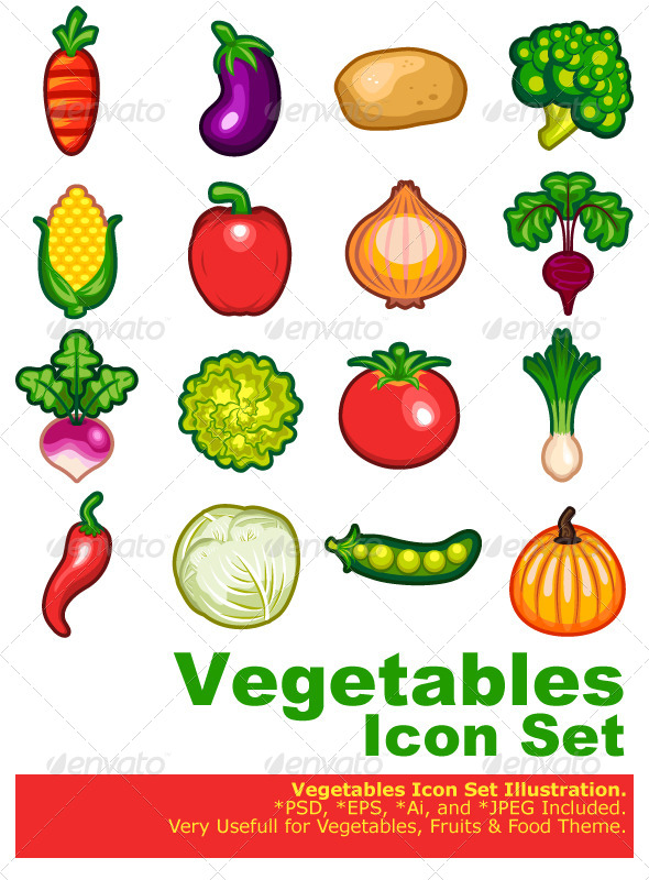 Vegetables Icon Set - Flowers & Plants Nature