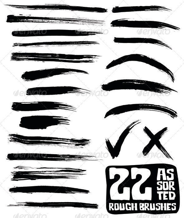 22 Assorted Rough Brushes - Miscellaneous Conceptual