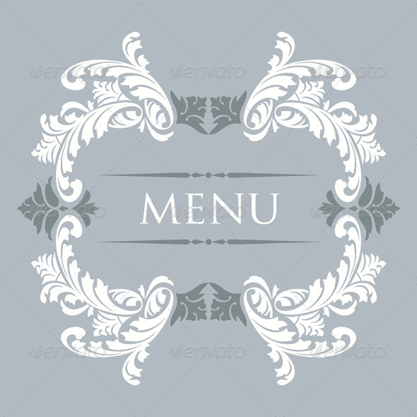 Vintage Menu Cover Design - Flourishes / Swirls Decorative