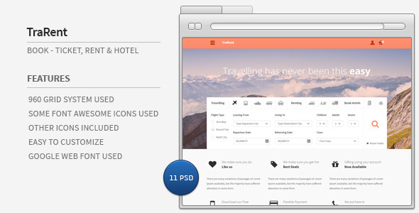 TraRent- Travelling,Renting,Hotel Booking Theme - Travel Retail