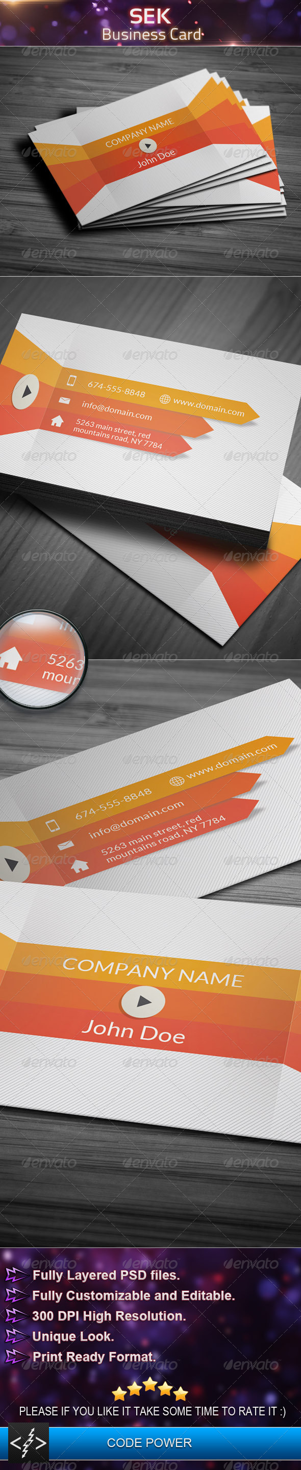 Sek - Business Card - Corporate Business Cards