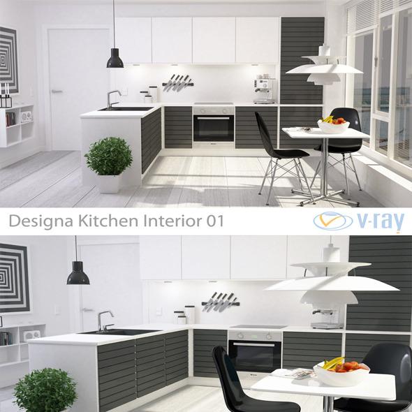 Modern Kitchen Interior 001 - 3DOcean Item for Sale