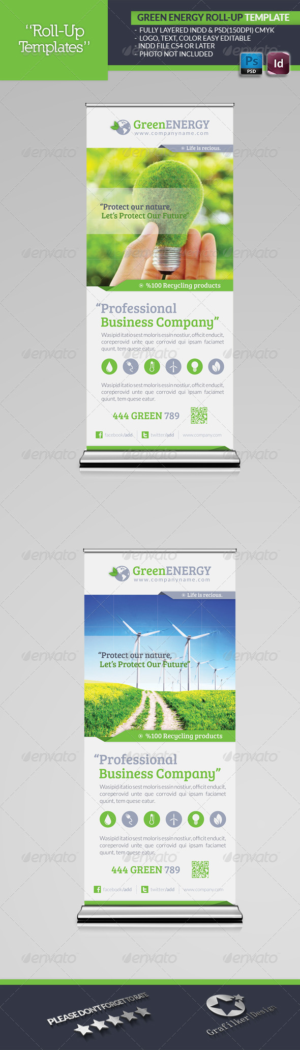 Green Energy Roll-Up Template - Signage Print Templates