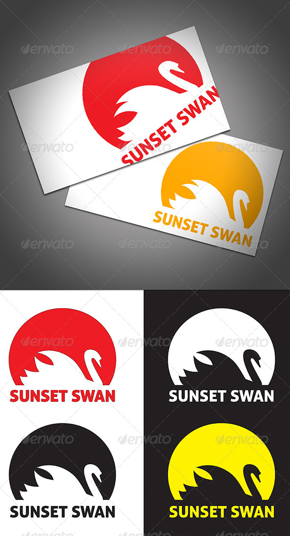Sunset Swan - Animals Logo Templates