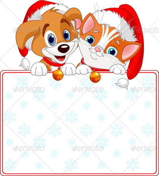 Christmas Cat and dog sign - Christmas Seasons/Holidays