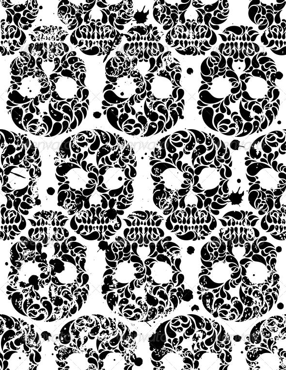 Seamless Pattern with Skulls - Halloween Seasons/Holidays