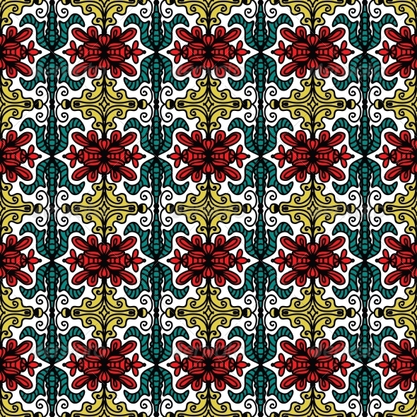 Background with Seamless Pattern in Ethnic Style - Patterns Decorative