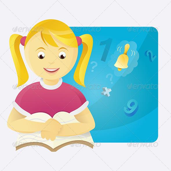 Girl in Class-Room - Characters Vectors