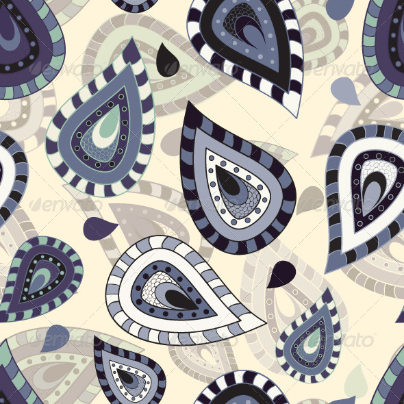 Seamless pattern with paisley ornament - Patterns Decorative