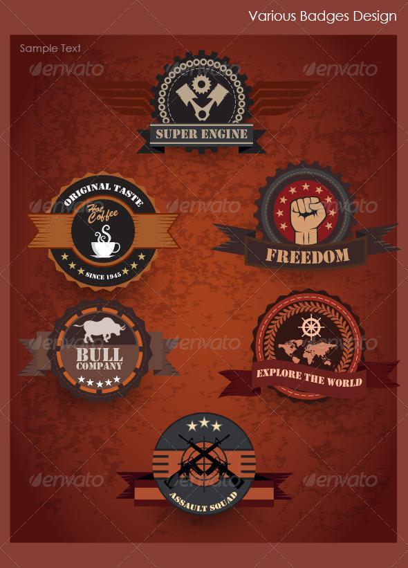 Various Badges Design - Decorative Vectors