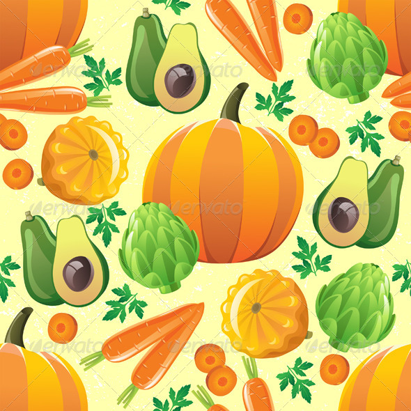 Seamless Vegetables Pattern - Patterns Decorative