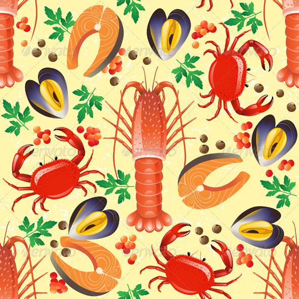 Seafood Seamless - Patterns Decorative