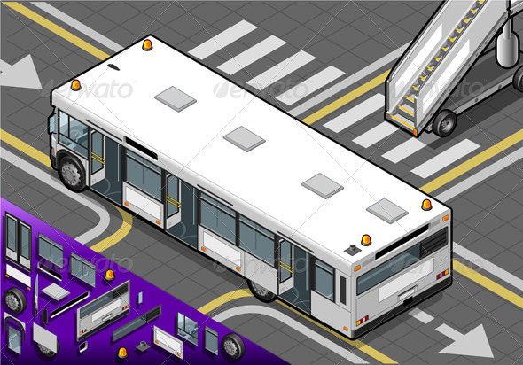 Isometric Airport Bus in Rear View - Objects Vectors