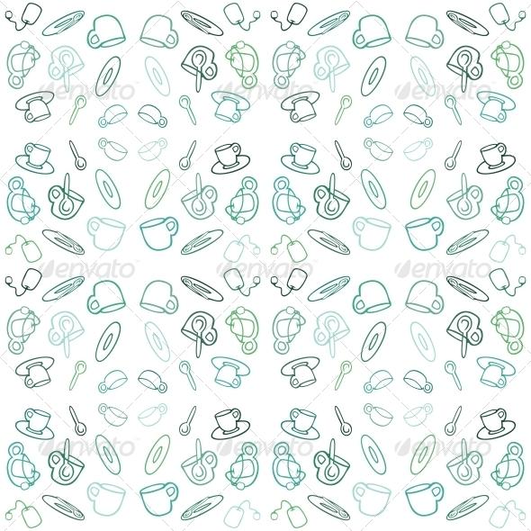 Seamless Pattern with Tea Set - Patterns Decorative