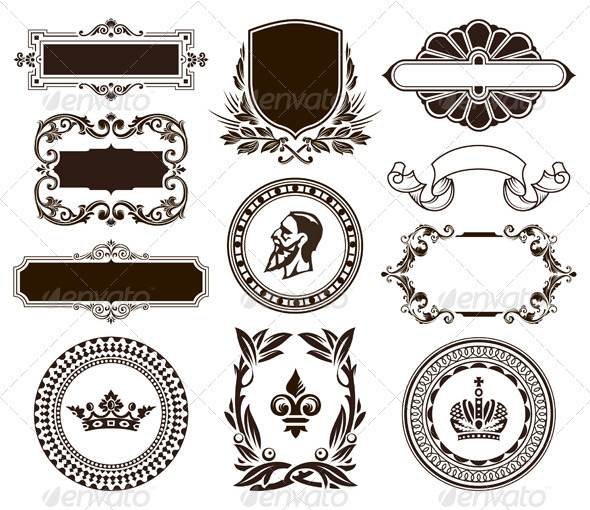 Vector set of vintage frames and elements by Vecster | GraphicRiver