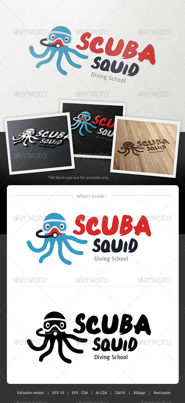 Scuba Squid Logo - Animals Logo Templates