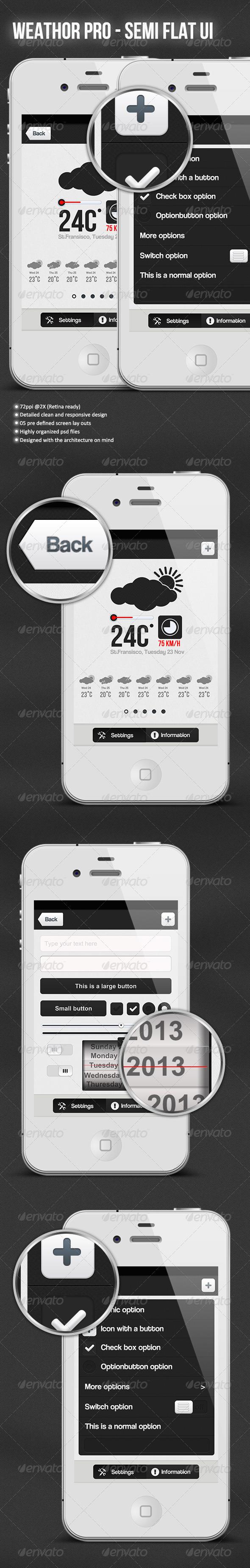 Weather Pro - Semi Flar UI Kit - User Interfaces Web Elements