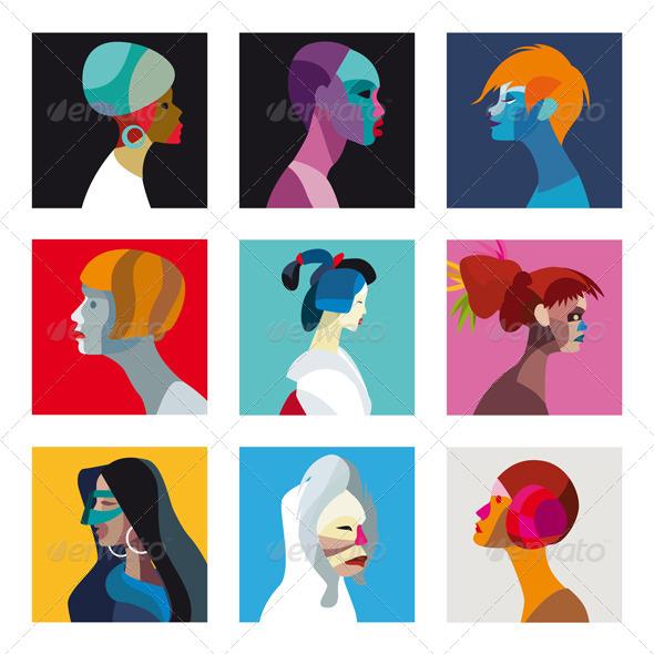 Ethnic Women Profile Avatar Set - Media Technology