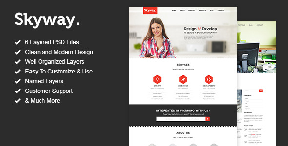 Skyway - One Page Portfolio PSD Template