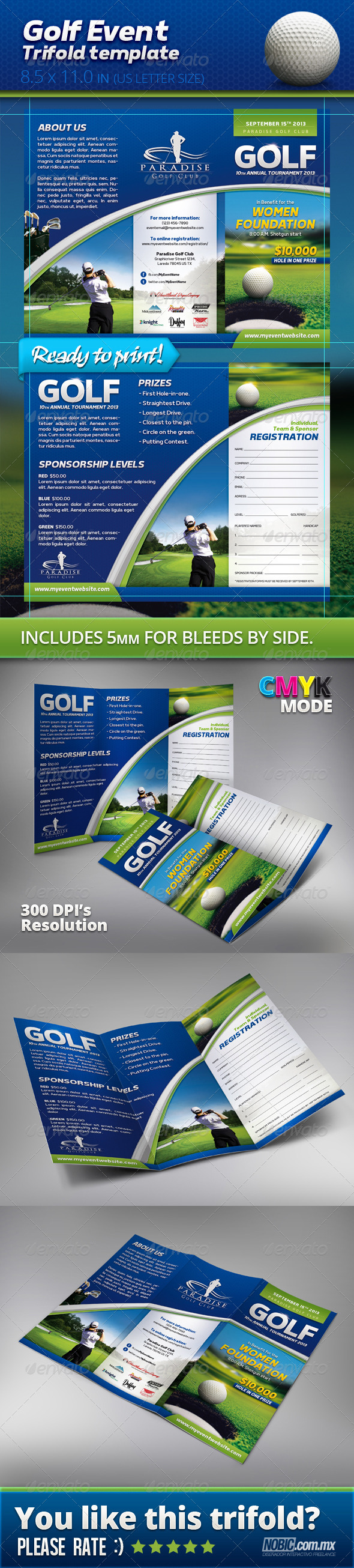 Golf Event Trifold Template - Informational Brochures