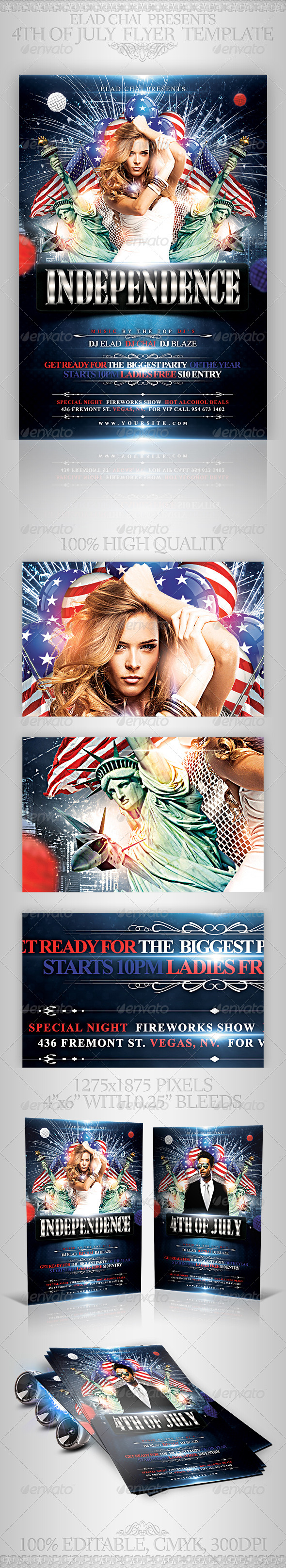 4th of July Independence Day Flyer Template - Holidays Events