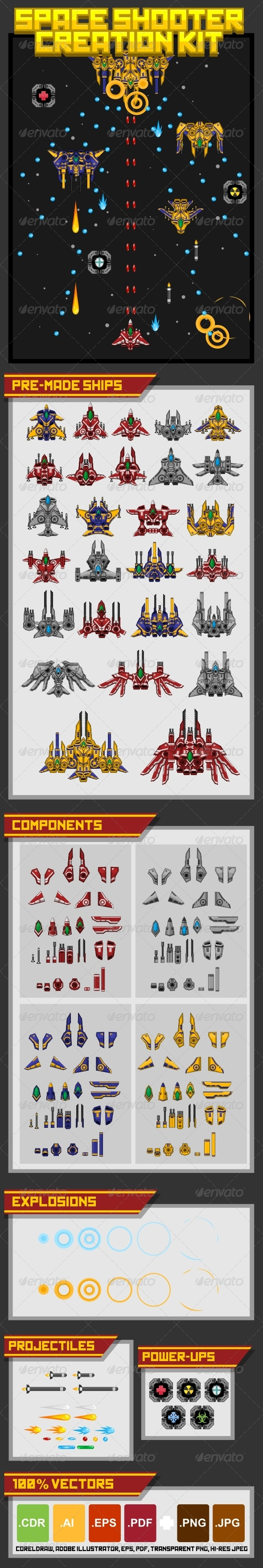 Space Shooter Creation Kit - Sprites Game Assets