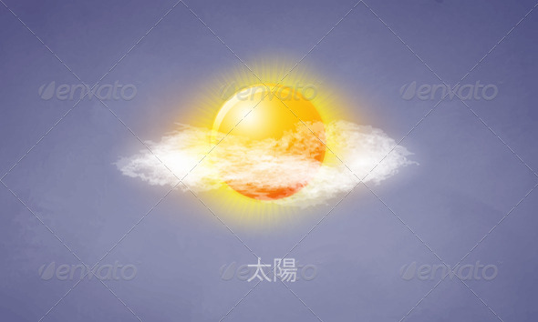 Icon sun with clouds in the sky - Seasons Nature
