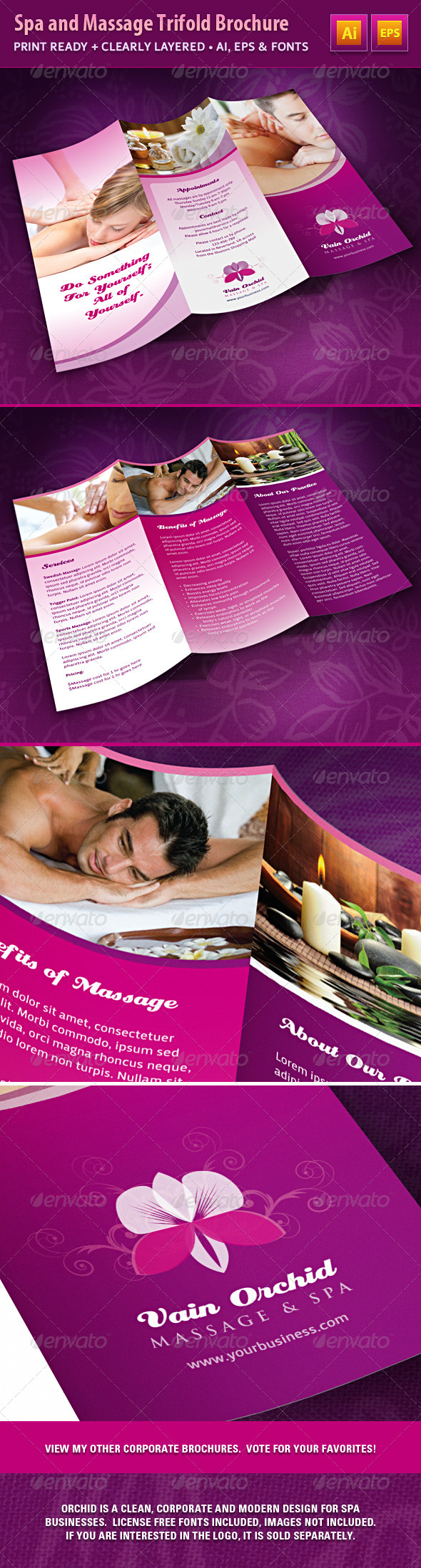 Spa and Massage Business Trifold Brochure - Corporate Brochures