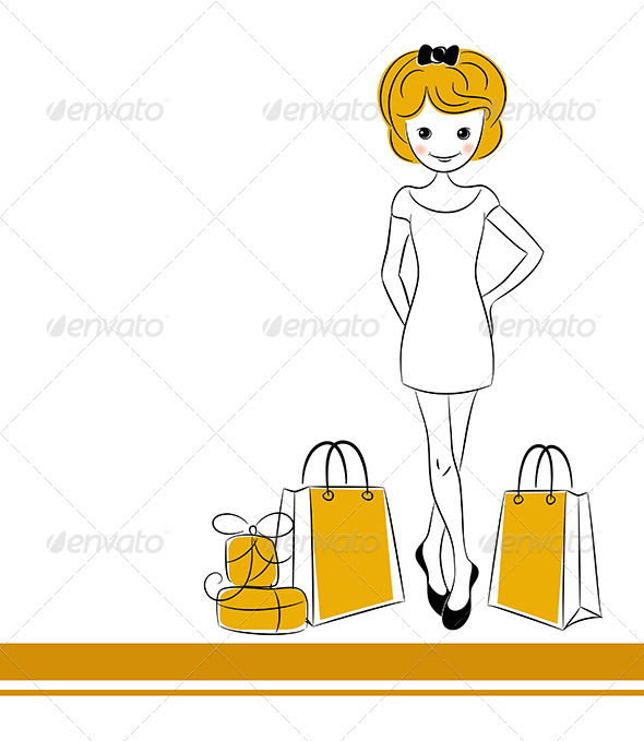 Pretty Blond Girl with Sales Bags - People Characters