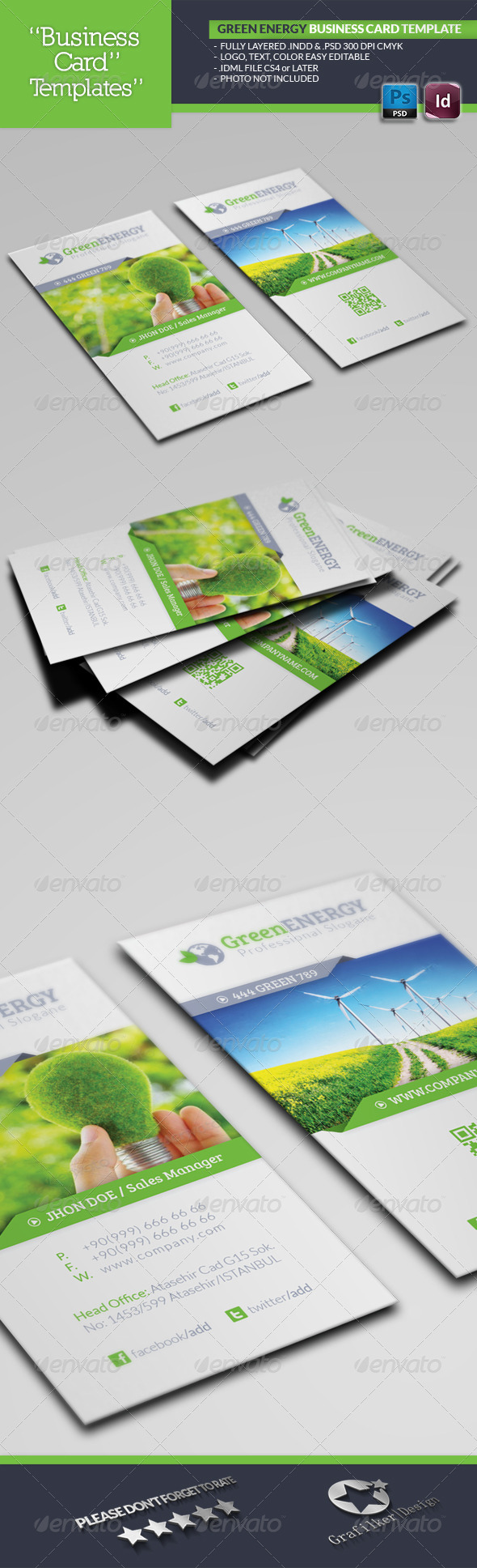 Green Energy Business Card Template - Business Cards Print Templates
