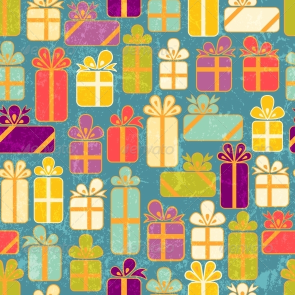Seamless Pattern with Colorful Gifts - Birthdays Seasons/Holidays