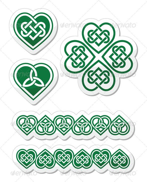 Celtic Green Heart Knot Set - Patterns Decorative