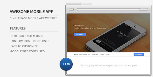 Awesome Mobile App – Single Page PSD Template