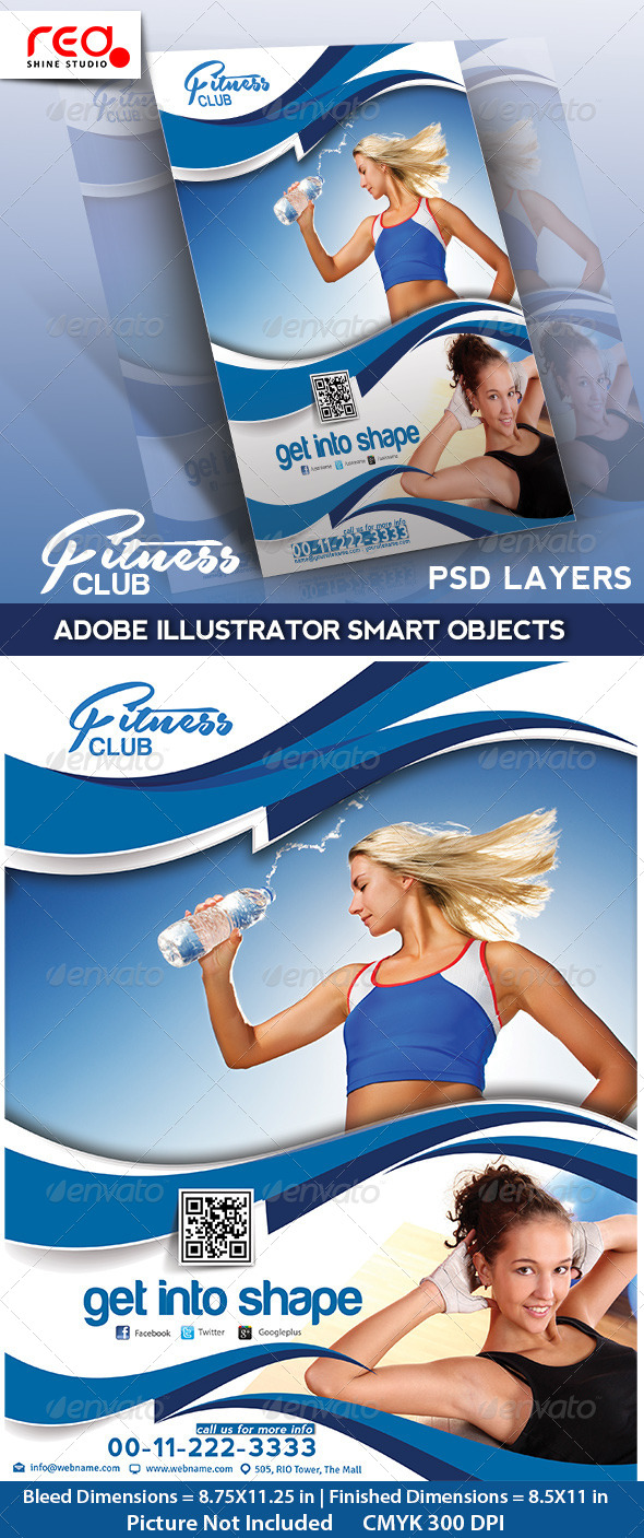 Fitness Club Flyer, Poster & Magzine Template - Sports Events