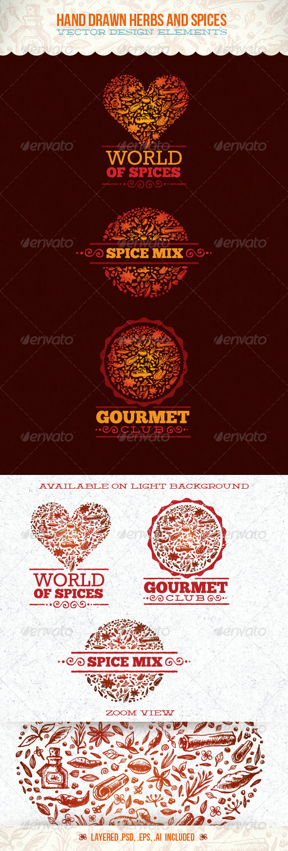 Spices and Herbs Vector Design Elements - Food Objects