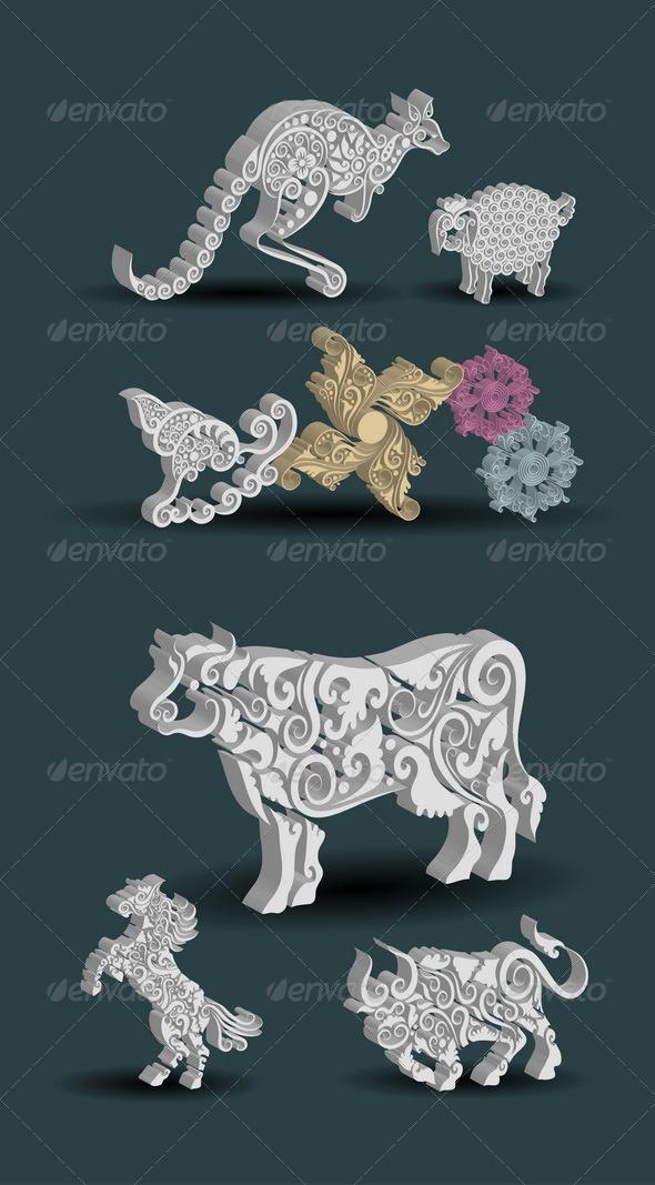 Engraving Animal Ornaments - Flourishes / Swirls Decorative
