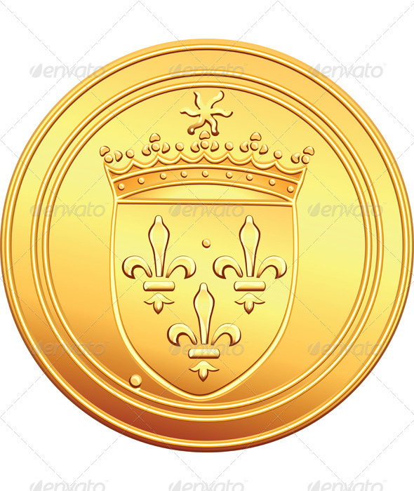 Vector gold coin French ecu obverse - Man-made Objects Objects