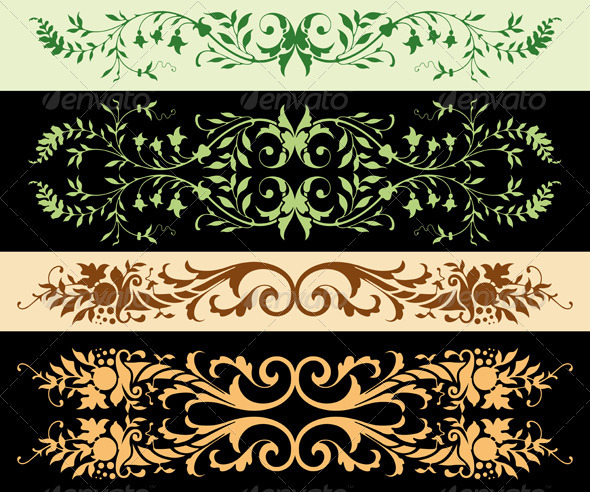 Leafy Ornaments - Borders Decorative