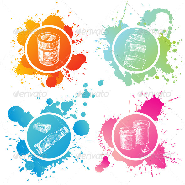 Paint Cans and Tubes - Miscellaneous Vectors