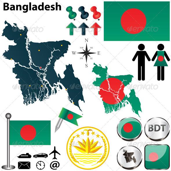 Map of Bangladesh - Travel Conceptual