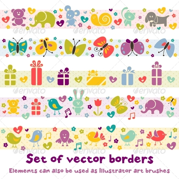 Borders with Baby Icons. - Birthdays Seasons/Holidays