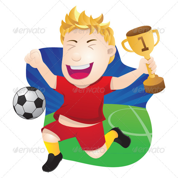 Winner Playing Soccer  - Sports/Activity Conceptual