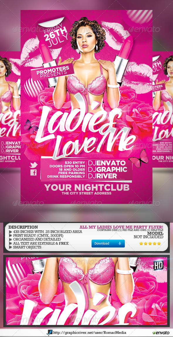 Ladies Love Me Party Flyer - Clubs & Parties Events
