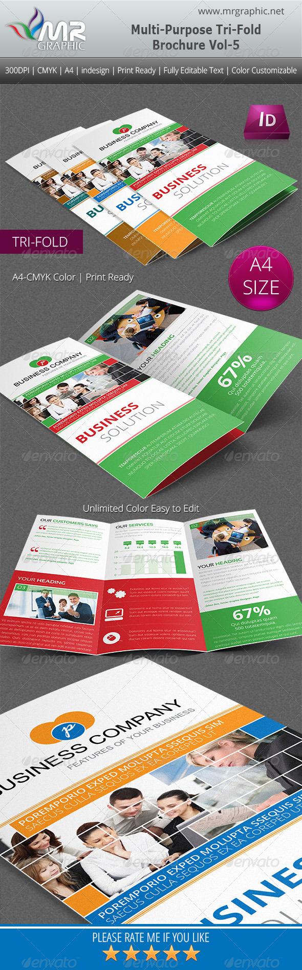 Multipurpose Business Tri-Fold Brochure Vol-5 - Corporate Brochures
